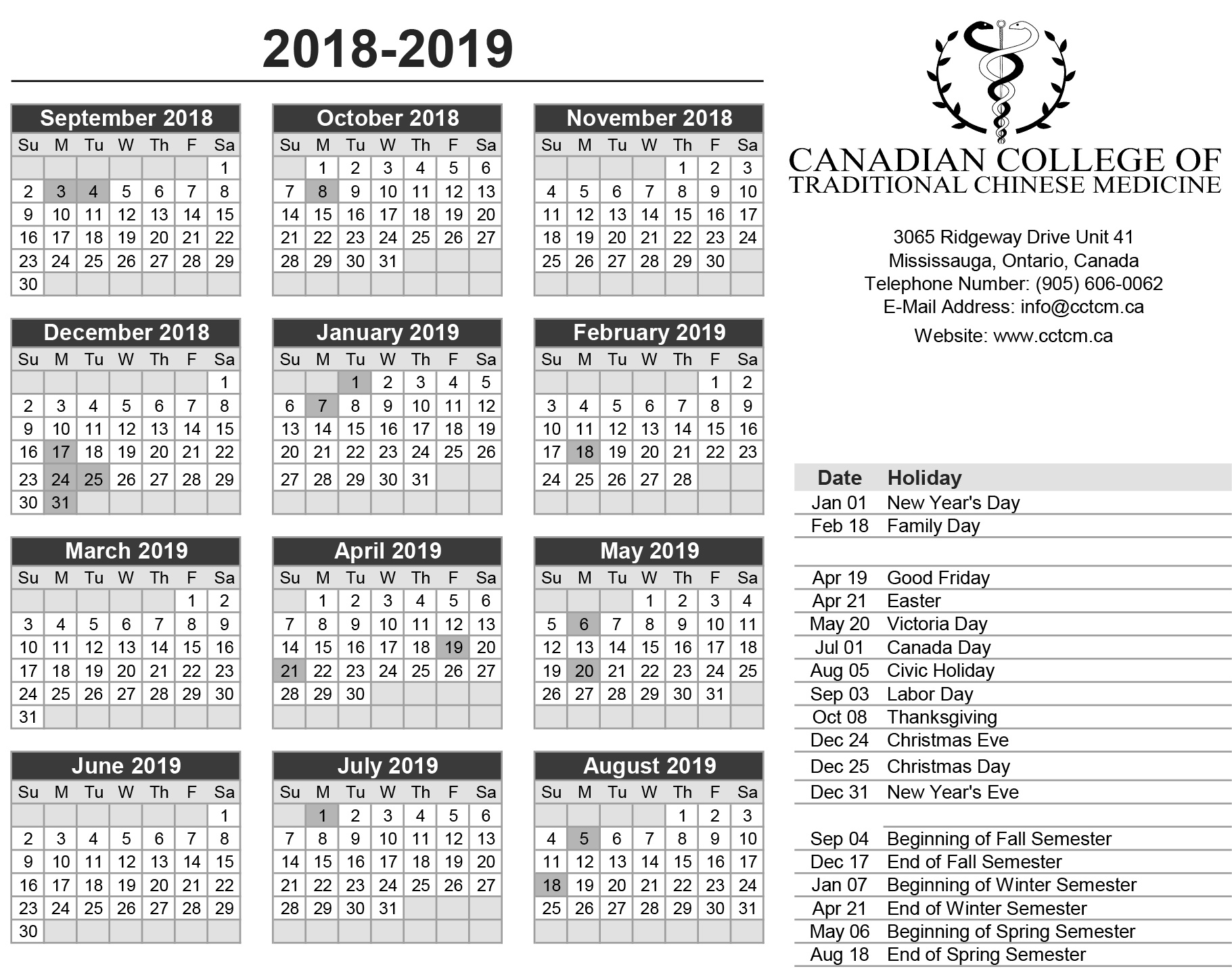 2018 2019 Calendar Canadian College Of Traditional Chinese